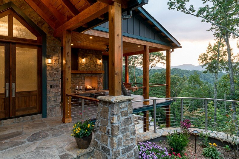 Waynesville mountain modern craftsman house acm design for Mountain craftsman house