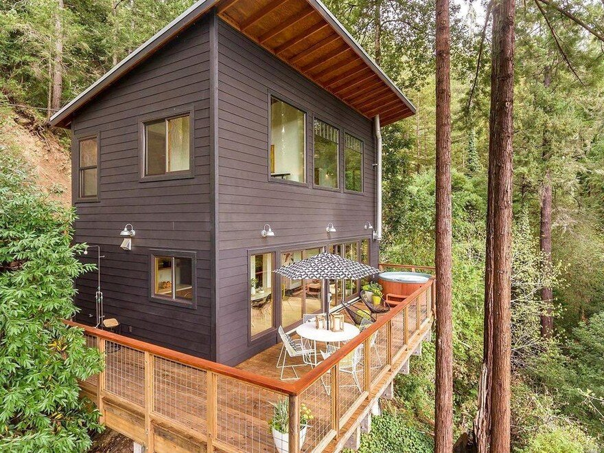 Russian river cabin with mid century modern design for Modern cabin house plans