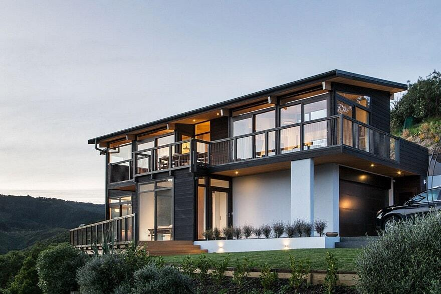 Korokoro residence tse wallace architects for Home designs new zealand