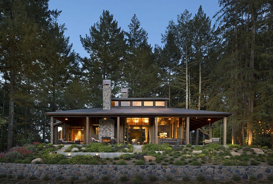 Napa cabin farmhouse style cabin by wade design architects for Cabina lago north carolina