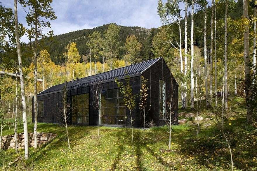 Cottage Black Provides a Retreat Within a Dense Aspen Grove