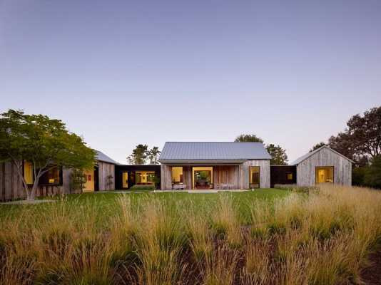 Portola Valley Barn Featuring a Rustic Exterior in Contrast with Contemporary Interior