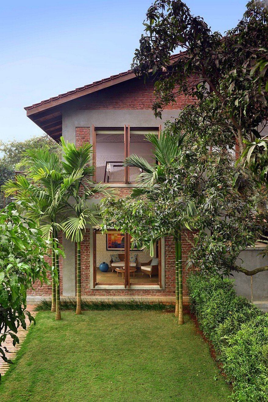 Indian Brick House With An Architectural Design Influenced