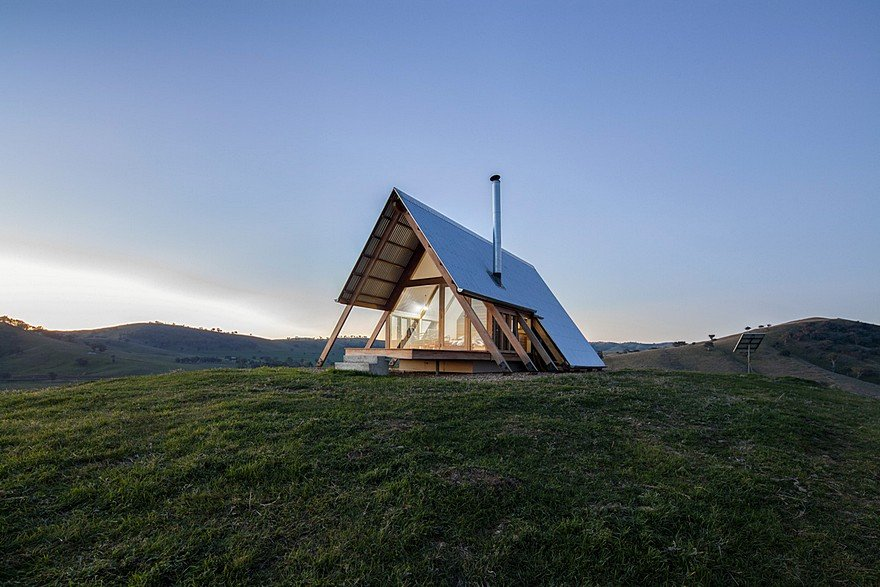 Kimo Hut is an A-Frame-Tent Shape with Two Open Ends and a Corrugated Metal Roof