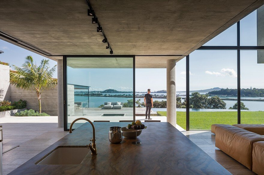 Massive Concrete Home on a Cliff Above Hobson Bay
