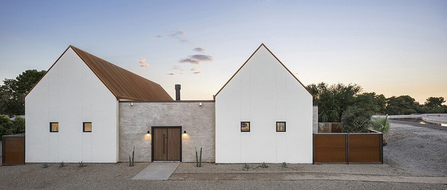 New build home inspired by the forms of the missions in for Canal home designs