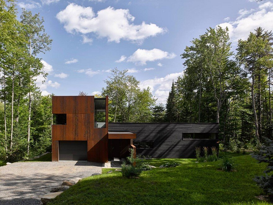 Contemporary canadian lake house features black dyed cedar for Lakefront cottage plans canada