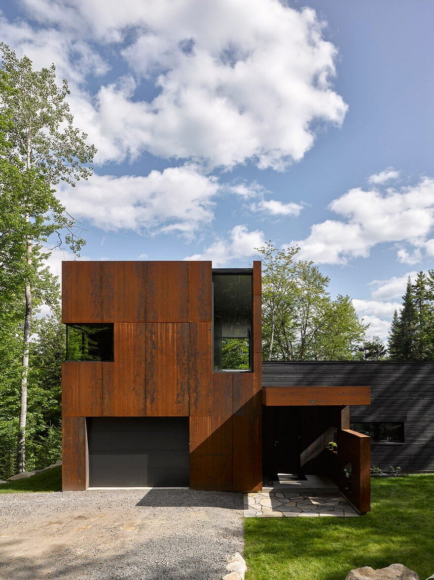Contemporary canadian lake house features black dyed cedar for Modern house features