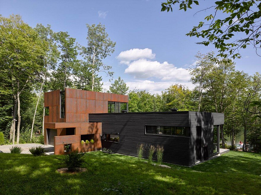 Contemporary Canadian Lake House Features Black Dyed Cedar and Rusted Metal Cladding
