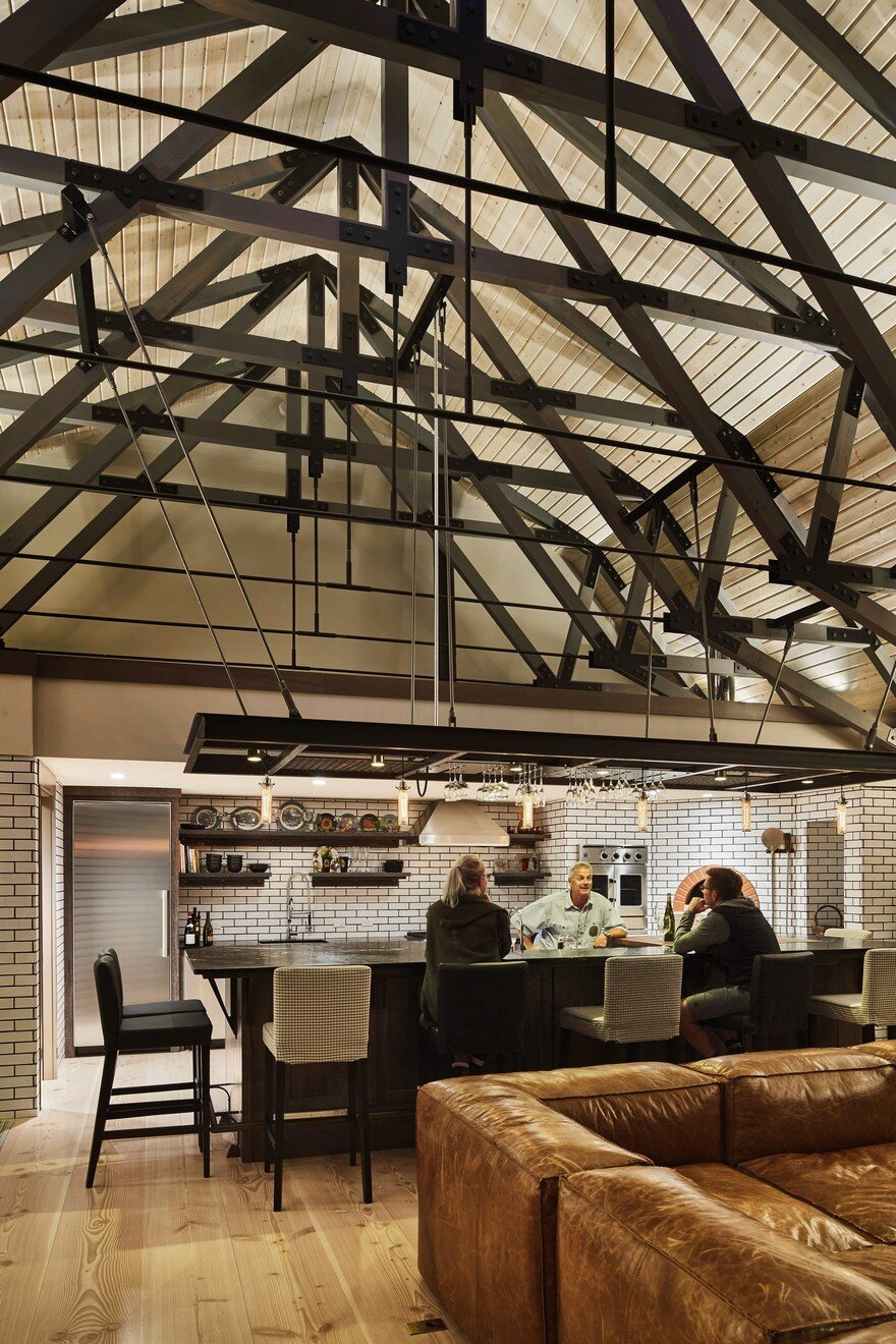 This Barn Retreat Combines Traditional Gambrel Barn Shapes