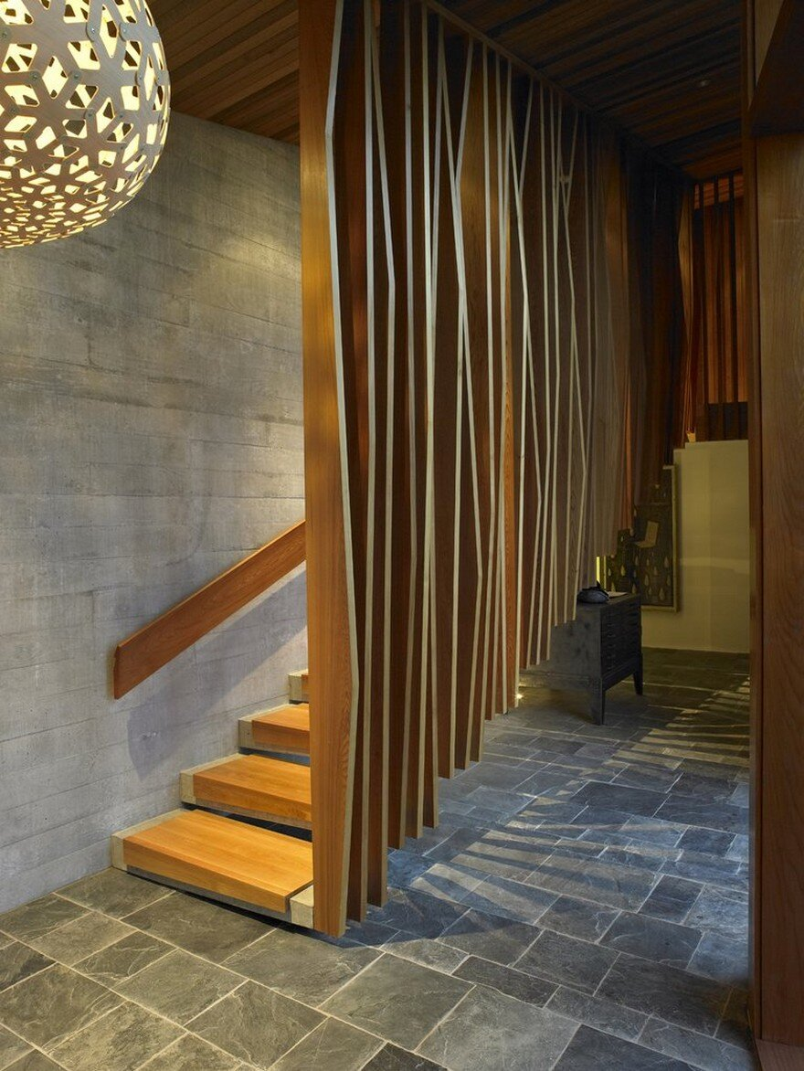 Modern Wood Screen Wall ~ Te kaitaka house has a sculptural shape inspired by the