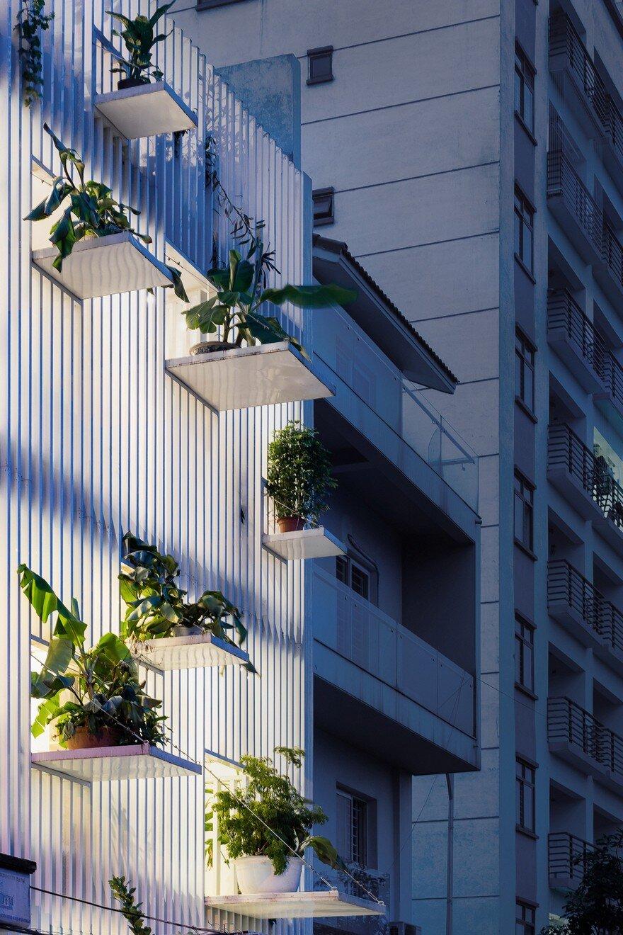 "Facade: DANstudio Renovates House In Hanoi With ""Green Balconies"