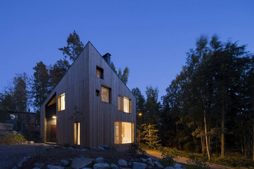 Angular House in a Forest Near Helsinki, Finland