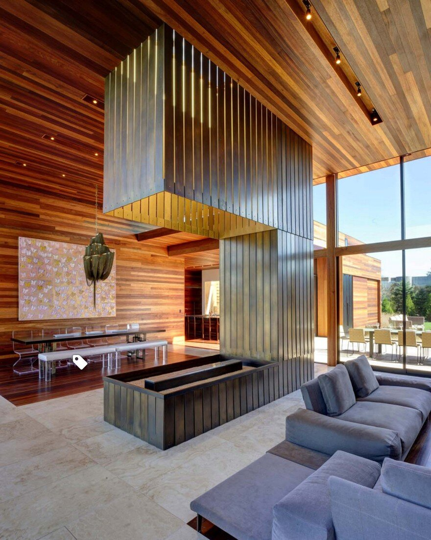mahogany interior design exhibited by sam s creek residence in long