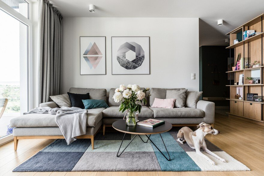 Modern scandinavian style flat for a young couple raca for Young modern living room