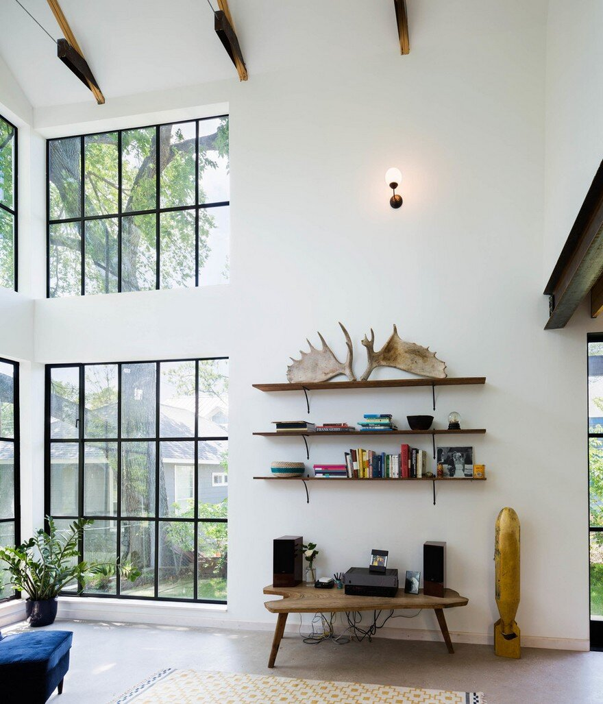 This east austin home combines modern and rustic details for Modern home decor austin