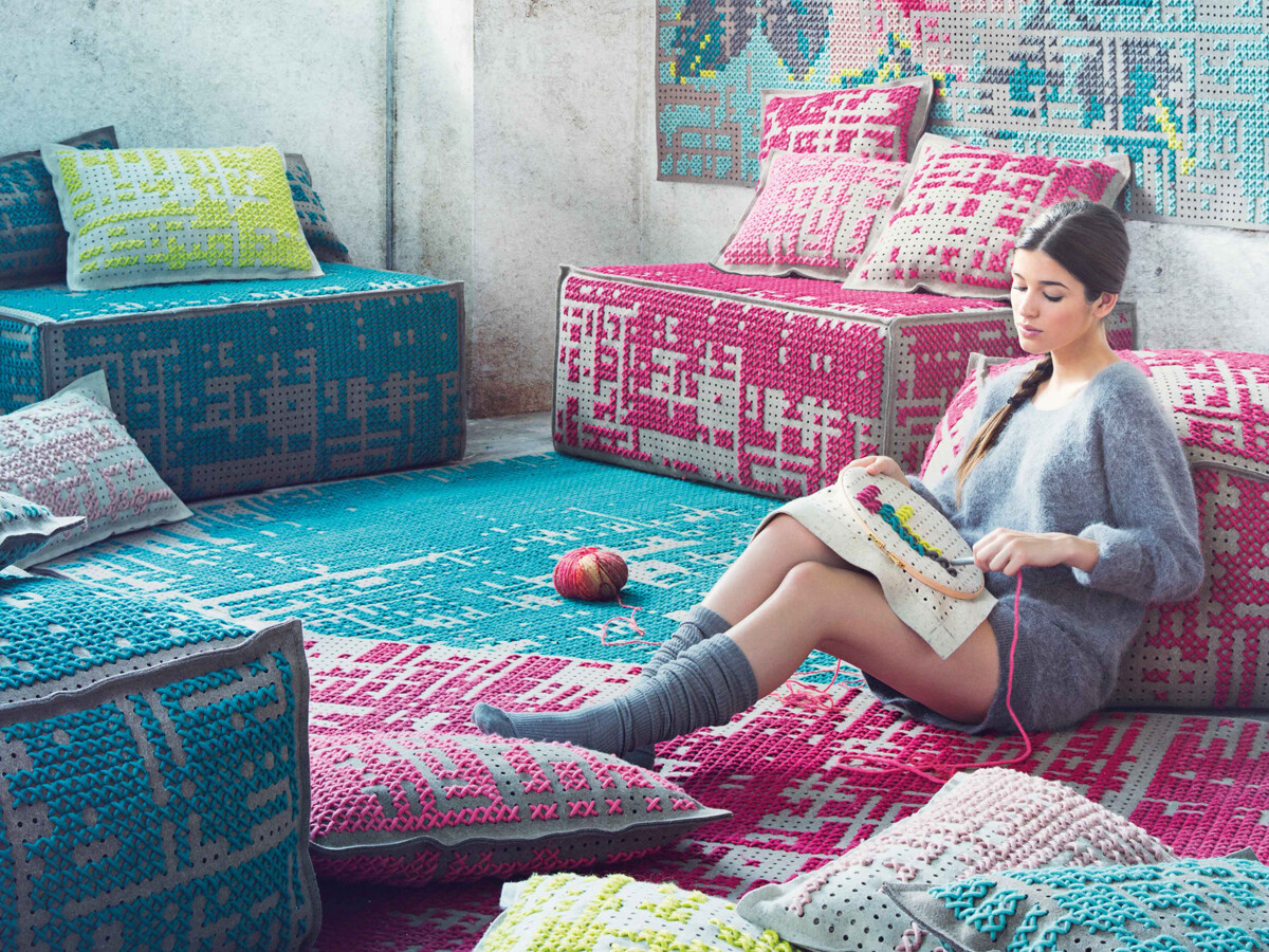 New collection of rugs, pouffes and cushions by Charlotte Lancelot