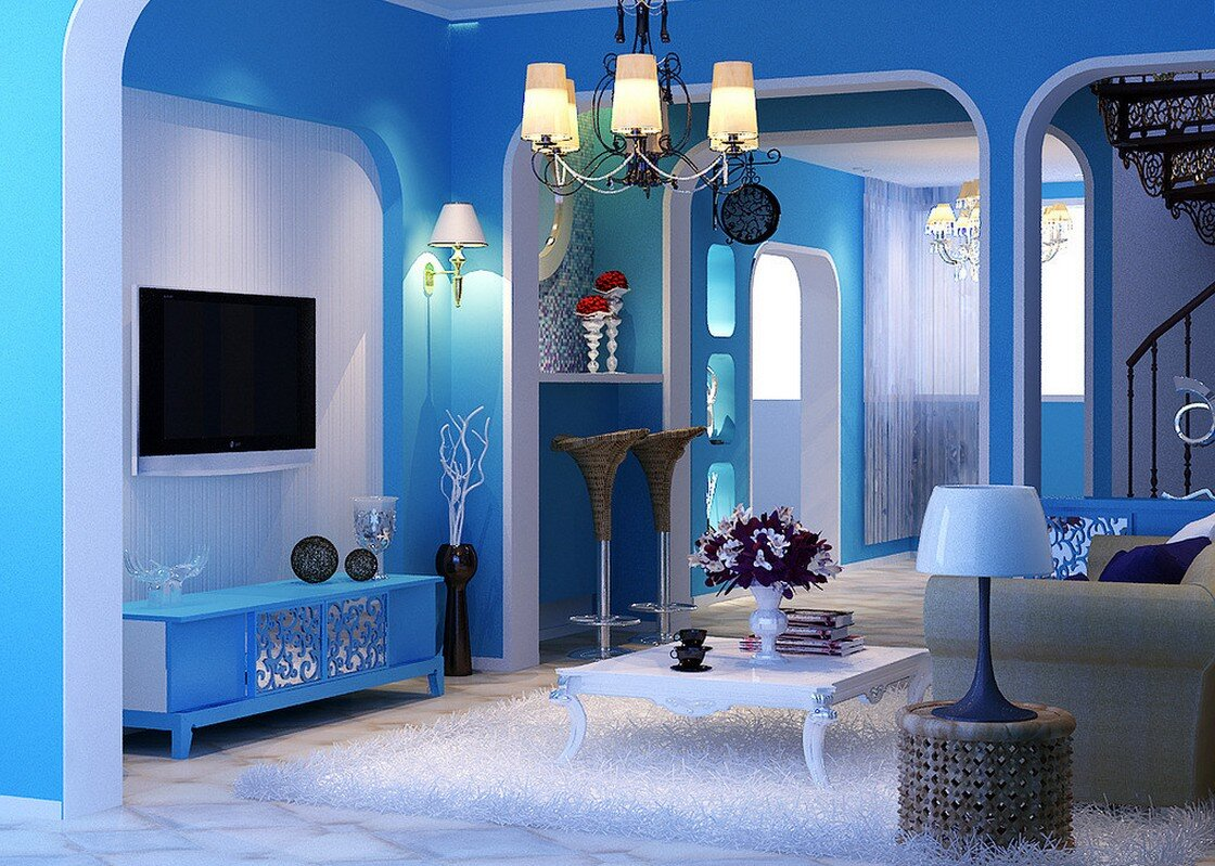 Painting room with hues of blue for Interior design decorative paint effects