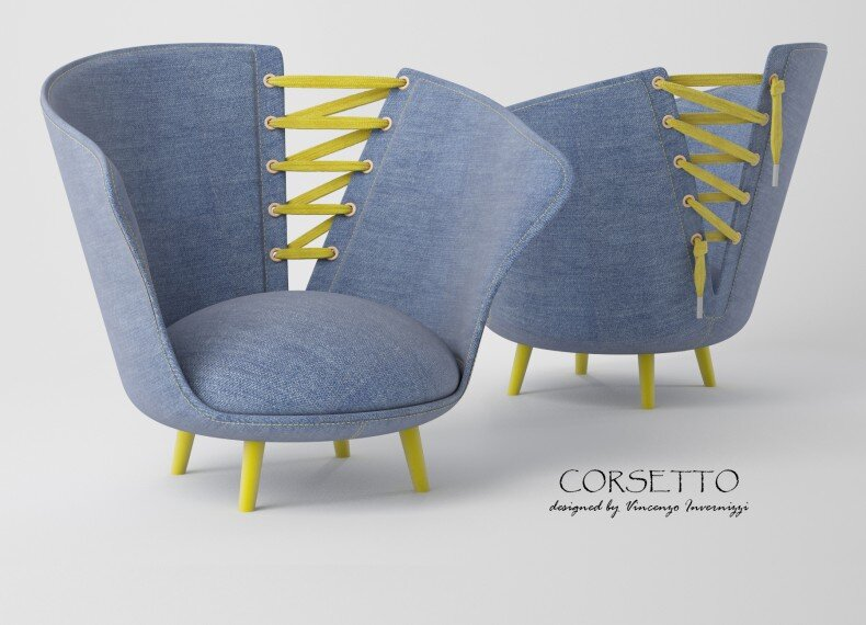 Corsetto armchair by Vincenzo Invernizzi