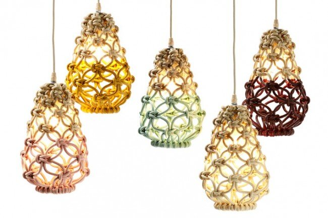 Macrame pendant lights – three collections by Sarah Parkes