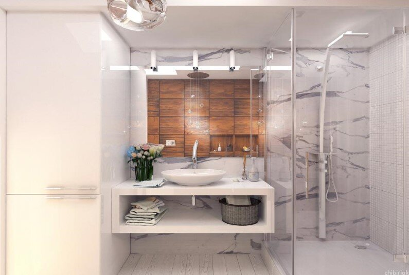 Sanitary objects offer softness in this bathroom