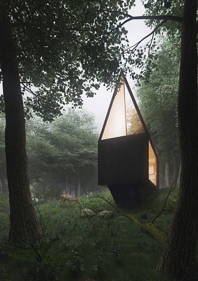Cabin in a forest by Polish designer Tomek Michalski