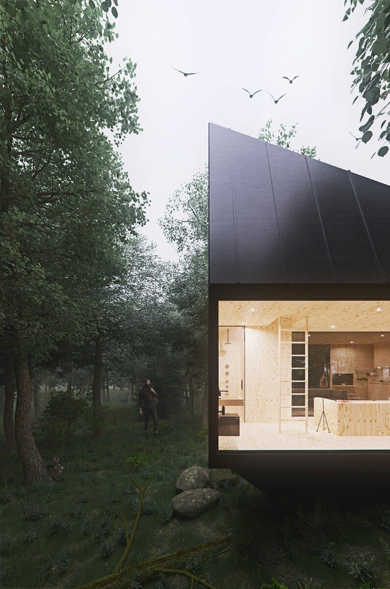 Cabin in a forest is architectural project realized by Polish designer Tomek Michalski