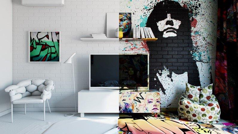 Graffiti and interior design by Pavel Vetrov - Sunday Bedroom