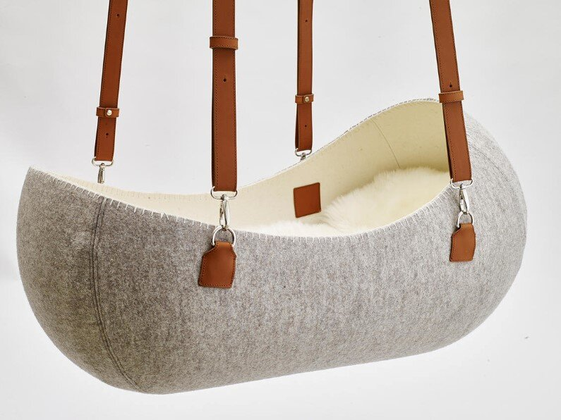 "O – bjekt design studio created the ""Little Nest"" – the felt cradle"