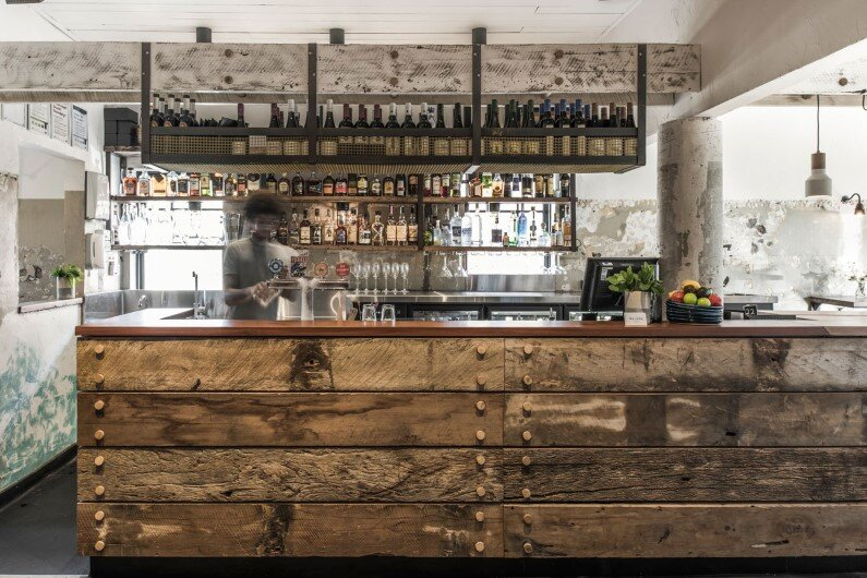 The Nelson Bar by Techne maritime, timeworn and rustic feel