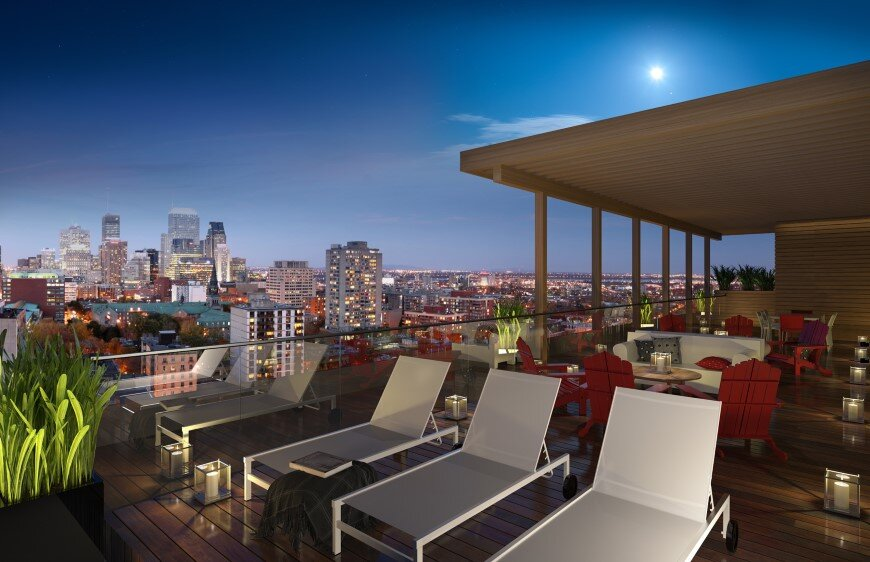 Elegant condos xact with a superb rooftop terrace for Interior design rooftop terrace