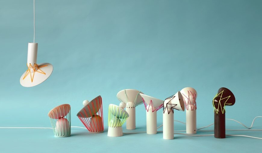 Elastic Lights – collection of articulated ceramic lamps