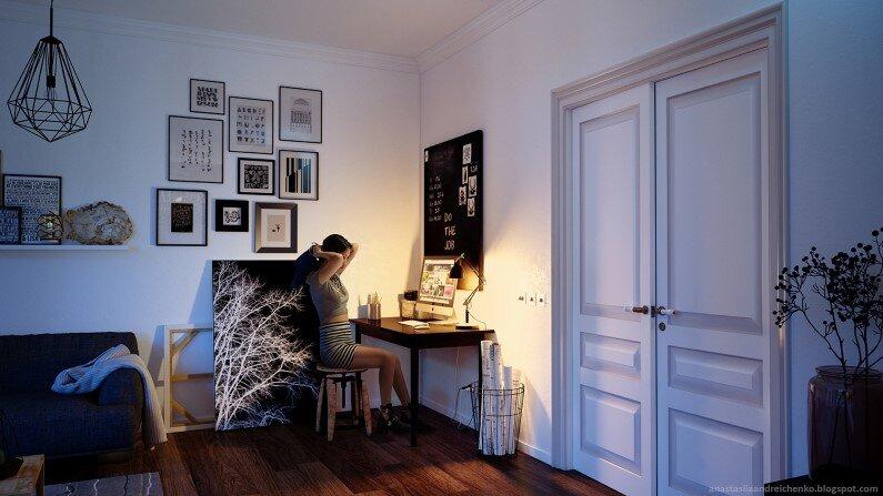 Monochrome Apartment by Anastasia Andreichenko