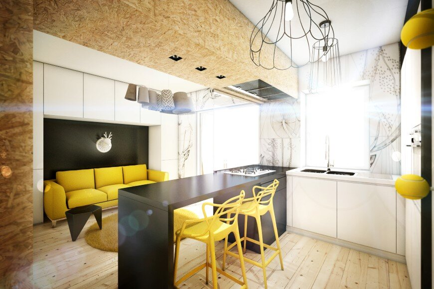 Yellow touch apartment 25 sqm yellow black contrast in rome for Apartment design rome