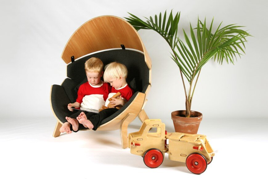 Hideaway Chair – a bent ply wood and upholstered children's chair
