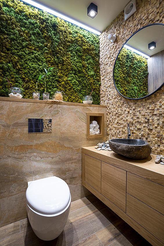 Bathroom eco-design with small vertical gardens on Small:j8V-Fokdwly= Bathroom Renovation Ideas  id=16048