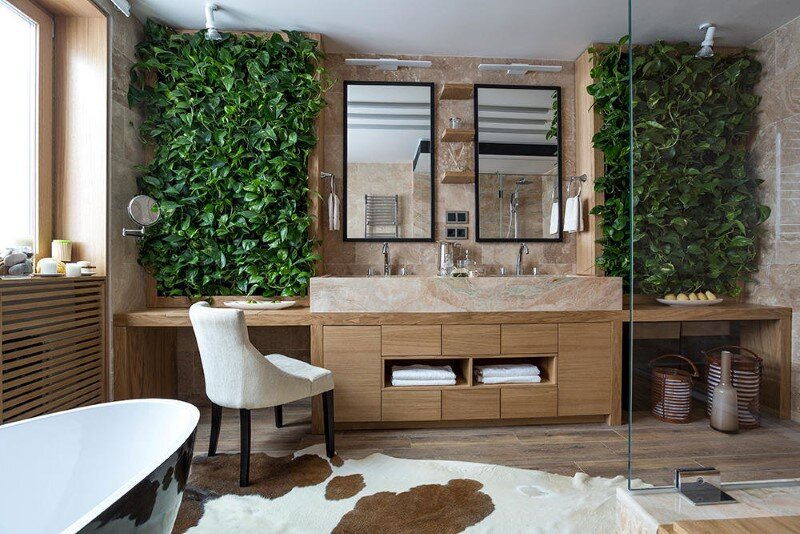 Bathroom eco-design with small vertical gardens