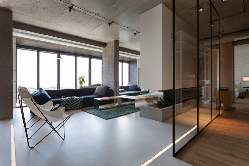 Penthouse with concrete ceiling and a glass-wall windows (2)