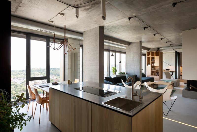 Penthouse with concrete partitions and ceiling and a glass-wall windows (3)