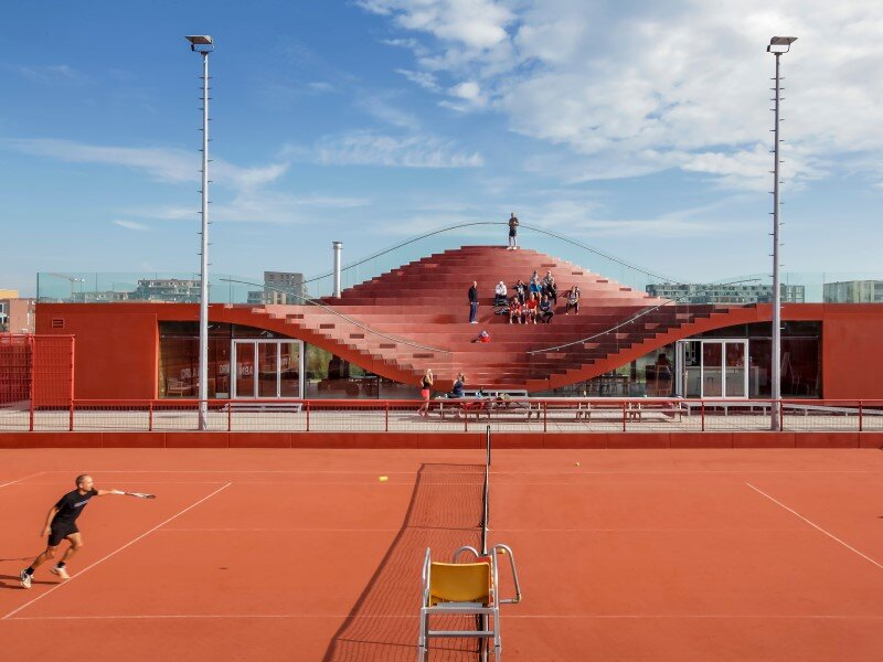 Iconic club house architecture for IJburg Tennis Club Amsterdam