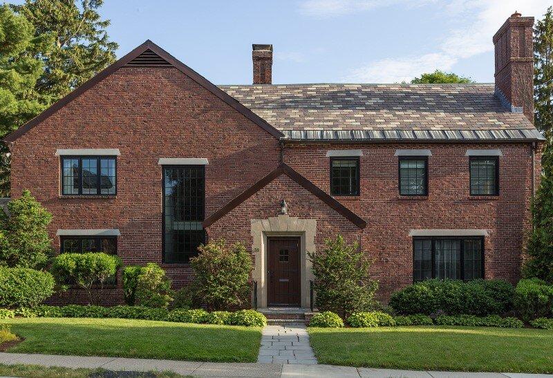 Redesign of 1932 Tudor style suburban house in Newton, Massachusetts (1)