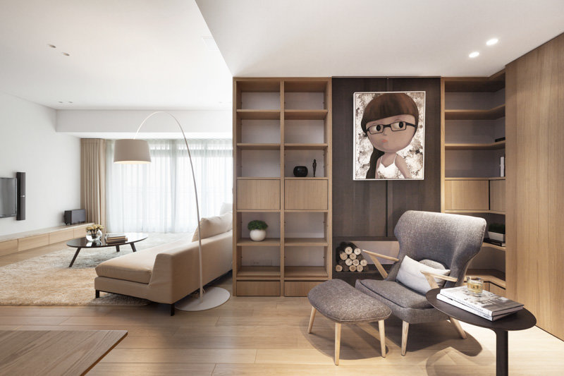 Pure apartment by js space taiwan for Living room ideas for a one bedroom apartment