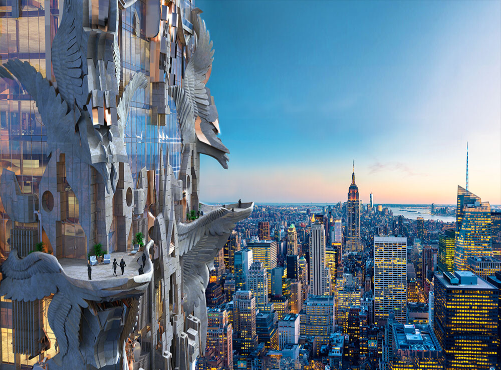 Stunning New York Skyscraper with Highly Decorative Carved Stone Facade
