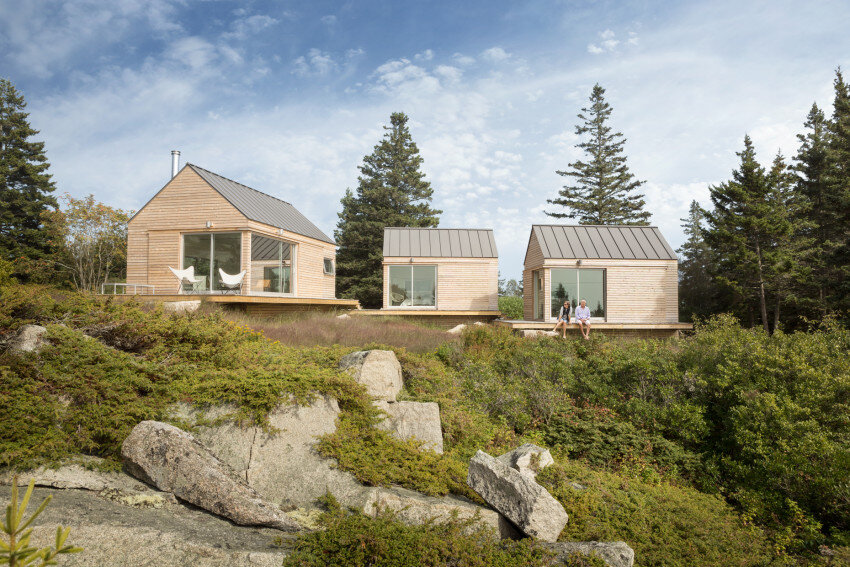 Summer Retreat in Maine: Three Identical Cabins Connected by a Deck