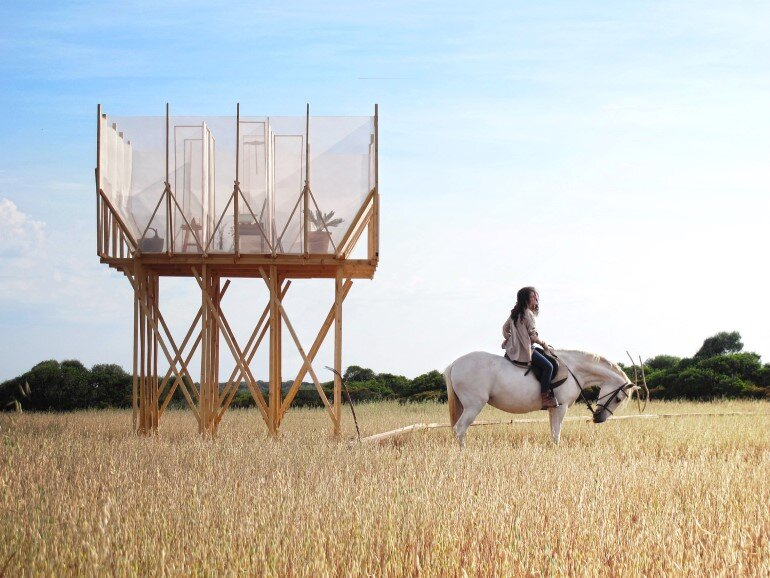 This Wooden Tower is a Space for Grooming, Contemplation and Delicacy