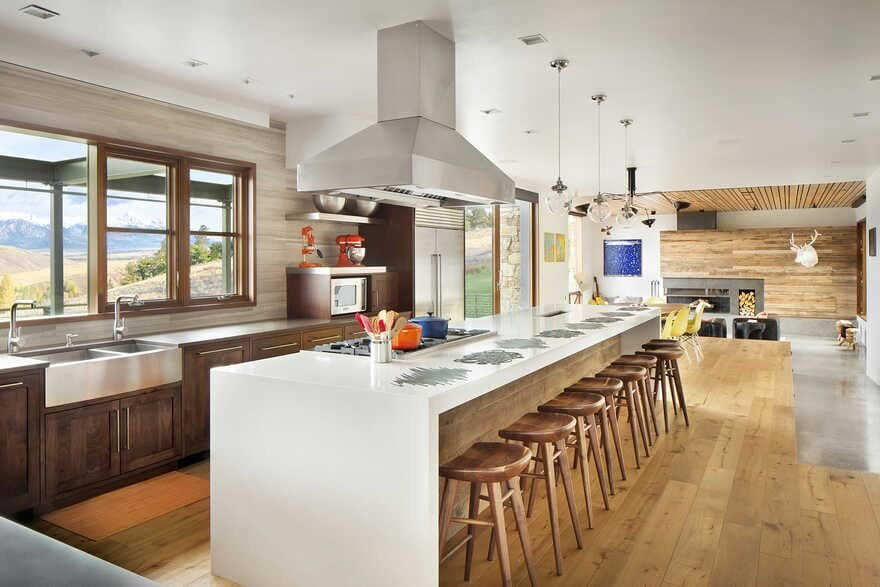 kitchen, A Wyoming Getaway Home for a Family of Five