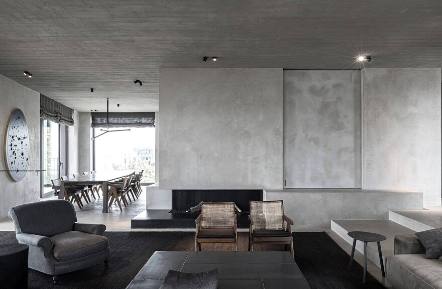 Concrete Penthouse Inspired by Cubist Art and Arte Povera Movement