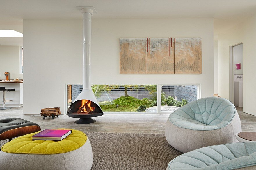 living room, fireplace, Heliotrope Architects