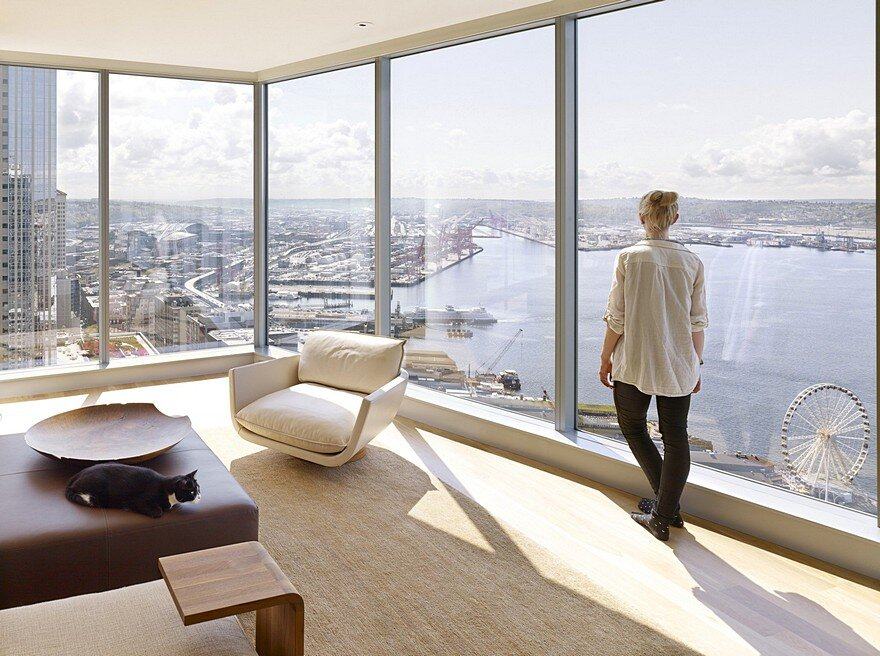 High-Rise Apartment with Floor-to-Ceiling Windows Overlooking Downtown Seattle