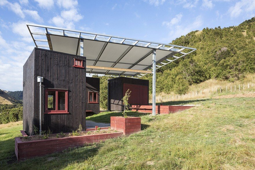 Ecosanctuary Welcome Shelter: Floating Roof Over the Wooden Boxes 1